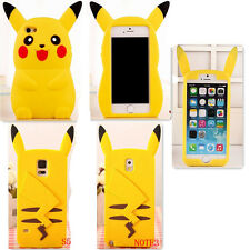 Pikachu 3D Cartoon Silicon Case Cover Skin for iPhone 4/5/6 GS/6+ Samsung S5 N3