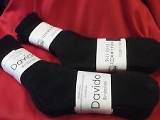 Davido Mens socks crew casual made in Italy 100% cotton 6 pairs black