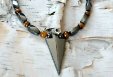 Men's Powerful Magnetic Hematite ARROW NECKLACE TIGER EYE Rounds FREE SHIPPING