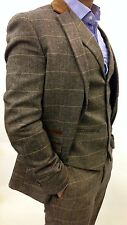 Mens Marc Darcy Designer Tweed Herringbone Checkered Vintage 3 Piece Suit