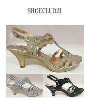 Wedding Prom Open Toe Slingback Kitten Low Heel Glitter Rhinestone Platform Shoe