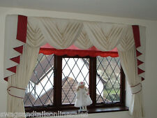 """NEW CREAM SWAGS & TAILS WITH CURTAINS SETS FITS WINDOWS 61"""" to 105""""(155-267cm)"""