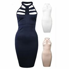 Womens Celeb Halterneck Caged Cut Out Neck Detail Stretch Bodycon Party Dress