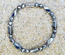 Men's 100% Magnetic Hematite Bracelet Anklet Faceted 6mm rounds 1row THERAPEUTIC