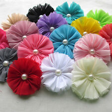 8PCS Big Fabric Ribbon Bows Flowers w/Bead Appliques Wedding Craft 77mm A0419