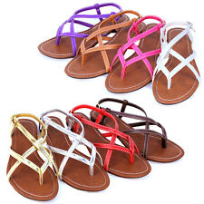 New Womens Roman Gladiator Sandals Crisscrossing Strappy Summer Flip Flops Shoes