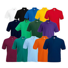 Mens Polo Shirt Plain Short Sleeve Top Tee Tshirt Poloshirt Fruit of the Loom