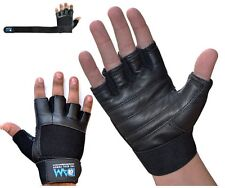 DAM HEAVY GYM WEIGHT LIFTING GLOVES BODY BUILDING WORKOUT REAL LEATHER BLACK NEW