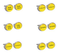 Yellow Wedding Cufflinks - Inserts Engraved with Groom, Best Man, Usher, Uncle