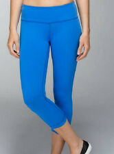 NWT Lululemon Wunder Under Crop Yoga Pant Reversible Pipe Dream Blue Black 10