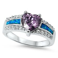 925 Sterling Silver PRETTY HEART AMETHYST BLUE LAB OPAL ENGAGEMENT RING SIZE5-10