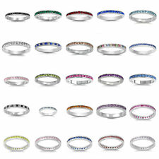 Sterling Silver 925 ETERNITY WEDDING BAND DESIGN CZ RINGS 3MM SIZES 4-13