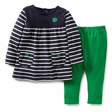 CARTERS BABY GIRL ST PATRICKS DAY 2PC SHAMROCK TUNIC GREEN PANT SET OUTFIT NB 3M