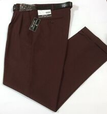 MEN'S BURGUNDY PLEATED DRESS PANTS SLACKS TROUSERS BLACK BELT CUFFED BOTTOMS NEW