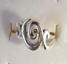 .925 Sterling Silver CENTER CURL SIDE SWIRLS Ring Size 6.5-9 NEW 925 06007