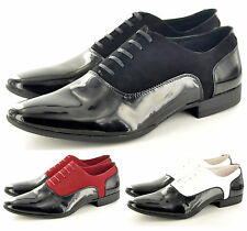Mens Smart Faux Suede & Patent Formal Lace Up Wedding Shoes In UK Sizes 6-11