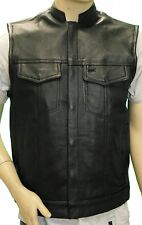 MEN'S SON OF ANARCHY LEATHER MOTORCYCLE VEST W/2 GUN POCKETS GREAT PRICE