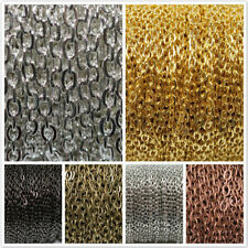 5M/100M Flat Curb Cable Open Link Plated Iron Metal DIY Jrwelry Chains Findings