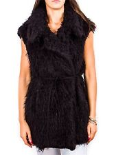 rt594-AVN giacca pelliccia ecologica nero DONNA WOMEN'S foux fur black jacket