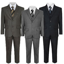 Formal Wedding Page Boy Party 5Pc Grey Brown Blue Suit 1 2 3 4 5 6 7 8 9 10 - 16