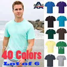 LOT OF 6 ALSTYLE APPAREL AAA SHORT SLEEVE PLAIN SOLID T-SHIRTS SIZE S-5XL