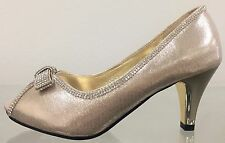 DoDo Prom Wedding Satin Rhinestone Kitten Low Heel Peep Toe Slip On Pump Shoe GD