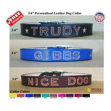 Unique Leather Dog Collars - Dog Name Collar - Medium Dog Collars made in USA