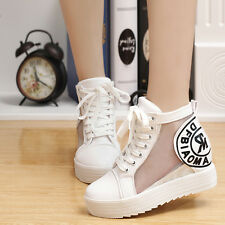 Hot Sell Women Transparent Voile Platform Casual Shoes Elevator Lace-up Shoes