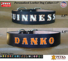 Black Leather Dog Collar - Dog Leather Collar Personalized - XL Custom Collars