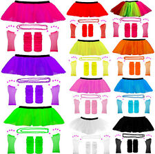 NEON UV TUTU GLOVES LEG WARMERS AND BEADS FANCY DRESS HEN PARTY COSTUME 80s