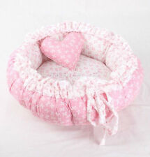 Pastoral 100% Cotton Handmade Pet Dog Cat Bed House Cushion Round pink blue