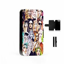 Lady Gaga Collage Printed Faux Leather Flip Phone Case Cover