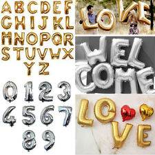 "16""/40"" Letter&Number Foil Balloon Party Birthday Wedding Decoration Silver Gold"