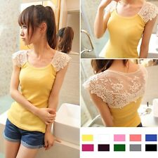 Fashion Womens Flower Lace Summer Casual Vest Tops Tank Sleeveless Shirt Blouse