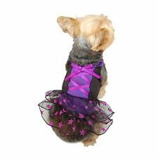 BLACK PURPLE GLITTER STARS RIBBON BOW DRESS FOR DOGS PUPPIES CATS ANIMAL CLOTHES