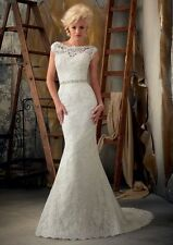 2015 New Mermaid white Ivory Wedding dress Bridal Gown stock size : 6--20 Cheap