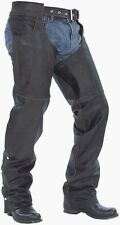 MENS BLACK PREMIUM LEATHER MOTORCYCLE SOFT COWHIDE CHAPS RETAIL $209