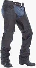 NEW MENS BLACK PREMIUM LEATHER MOTORCYCLE SOFT COWHIDE CHAPS RETAIL $209