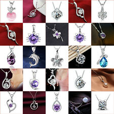 Fashion Women 925 Sterling Silver Rhinestone Crystal Chain Pendant Necklace New