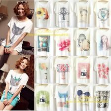 Women Fashion Loose Cotton Batwing Sleeve Print T-Shirt Summer Tee Blouse Tops