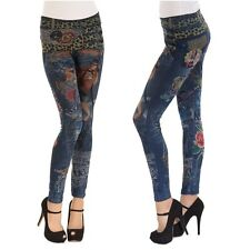 Damen Leggings mit Leo Print Hose Stretch Jeggings Treggings Skinny Röhre