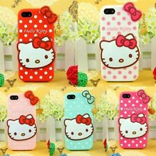 Lovely 3D Hello Kitty Soft Silicone Case Cover for iPhone 4S 5 5S 6 4.7'' 5.5''