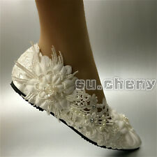 Ivory silk satin mesh Wedding shoes  flat ballet lace Bridal shoes Size 5.5-9.5