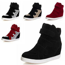 Hot Newest Women Booty Wedge Heel Tennis Flats Shoes Velcro Sneakers Boots