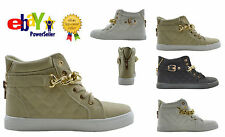 LADIES QUALITED FLAT CHAIN TRAINER HI HIGH TOP PUMPS ANKLE BOOTS SHOE SIZE 3-8