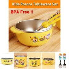 Kids Dinnerware Set Stainless Steel Non Slip Soup Bowl Rice Bowl Cup Spoon Pork
