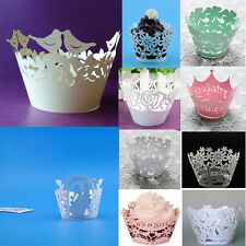 12Pcs Cupcake Wrappers Lace Baking Cake Wrap Cups Wedding Birthday Baby Shower