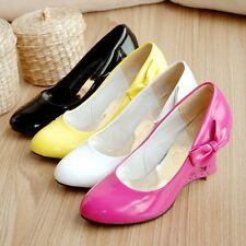 Women's High Heel Wedge Pumps exquisite Side Bowknot Shoes US Size 6-10.5 G005