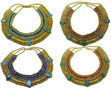Egyptian Belly Dance Cleopatra Necklace Collar Beaded Scarabs Chain Cord Choker