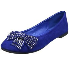 Womens Ballet Flats Studded Bow Accent Slip On Comfort Shoes Blue